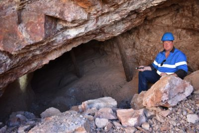 DSC_0045- Eddie Milne, operations manager at West Wits Mining, at a historical stope unearthed by recent surface work. Image credit: Leon Louw