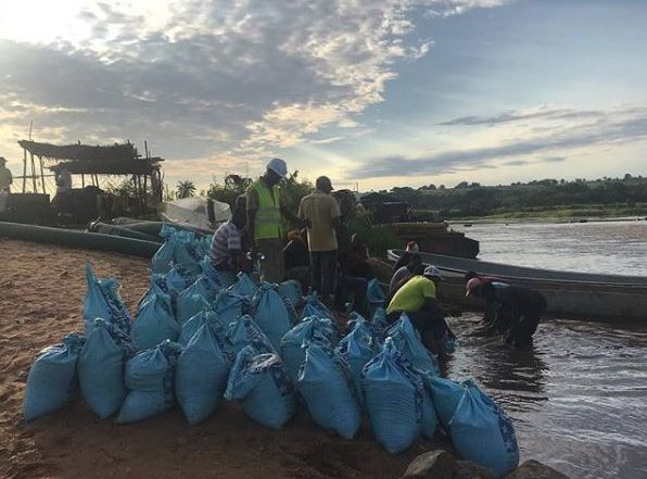 Bags of alluvial ore prepared for washing. Image credit:Africa Resources