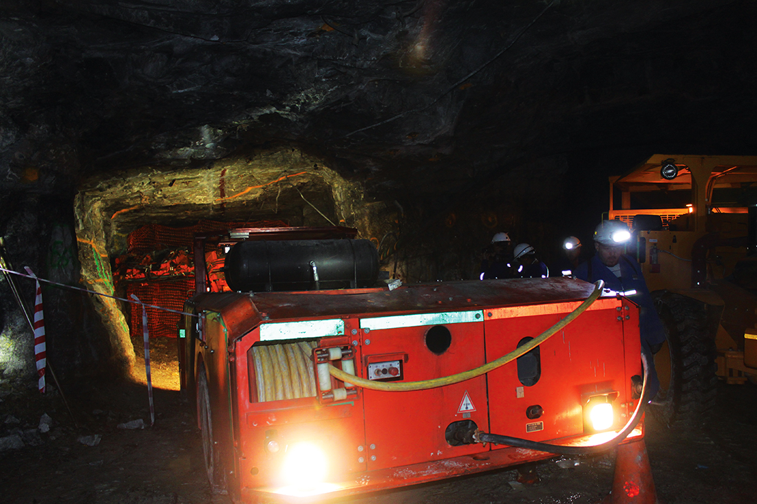 Underground equipment at the Burnstone gold mine in 2012