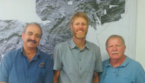 From left: Manie Swart, geologist at Shango Solutions; Rob Handley, geologist at Shango Solutions; and Professor Terence McCarthy, emeritus professor of geology at Wits University and principal geologist at Shango Solutions. Image credit: Shango Solutions
