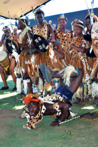 The Zulu community around the Kangra mine has been vocal about local issues. In picture are traditional dancers who took part in the celebrations. Image credit: Leon Louw