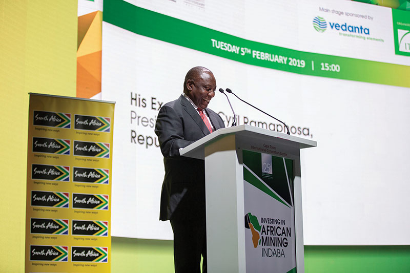 President Cyril Ramaphosa earlier this year at the Investing in African Mining Indaba. Image credit: Mining Indaba